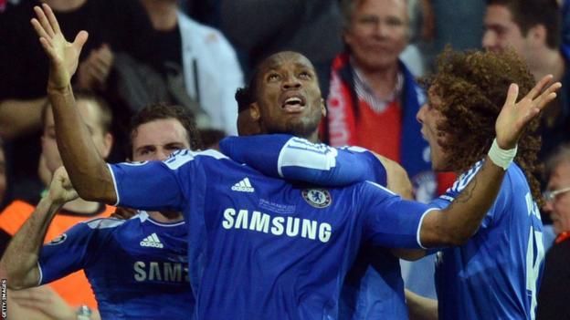 Didier Drogba celebrates after scoring