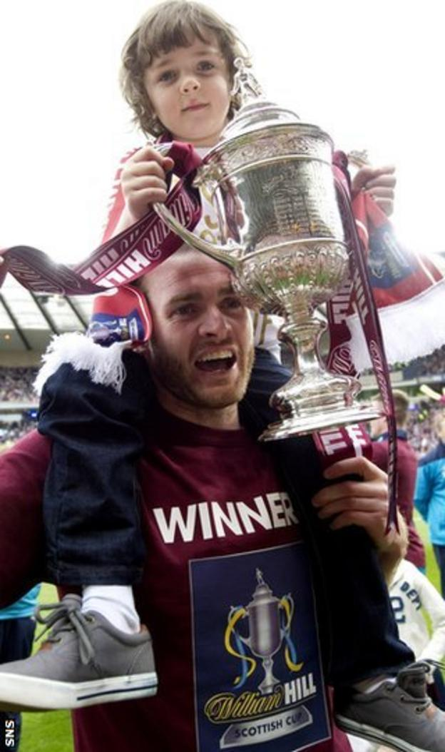 Beattie celebrates the Scottish Cup victory with his won at Hampden