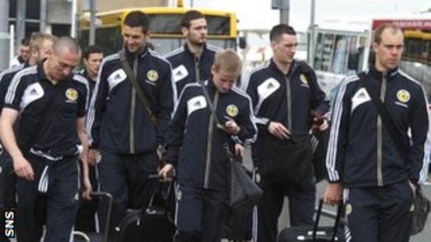 Scotland squad at Glasgow Airport