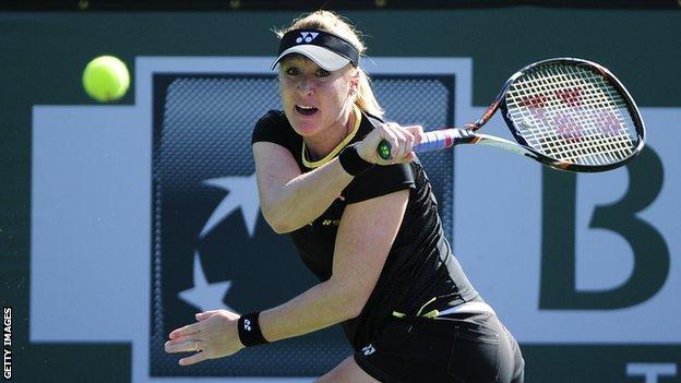 British number one Elena Baltacha keeps her eye on the ball