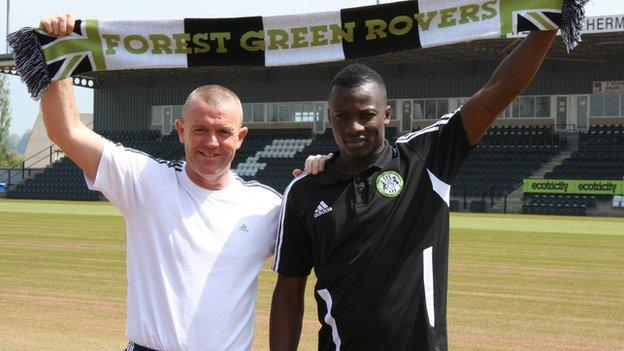 Forest Green Rovers manager Dave Hockaday and new signing Omar Koroma