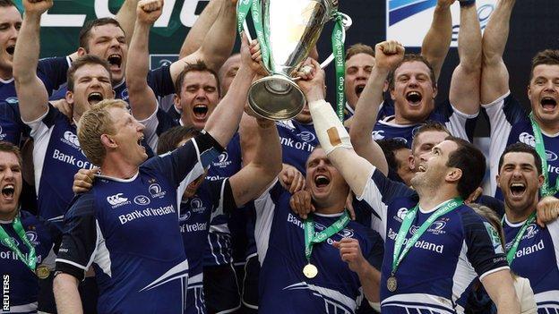 Leinster hoist the Heineken Cup