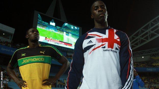 Jamaica's Usain Bolt and Dwain Chambers