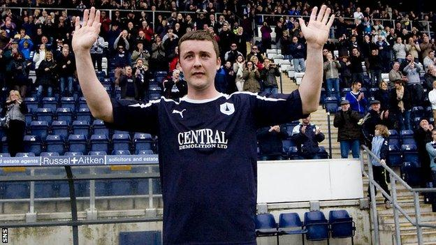 Tam Scobbie says his farewells to the Falkirk fans