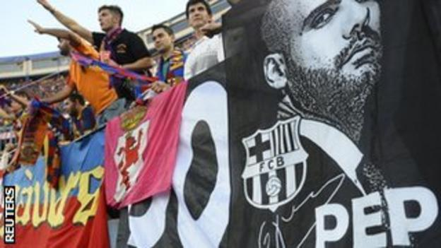 Barcelona fans pay tribute to Guardiola during the Copa del Rey final victory over Athletic Bilbao.