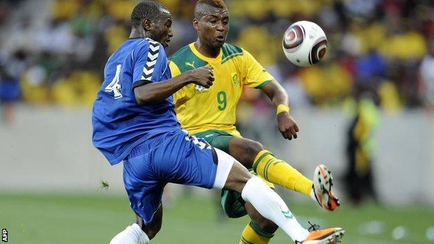 Mohamed Kamara of Sierra Leone in action against South Africa