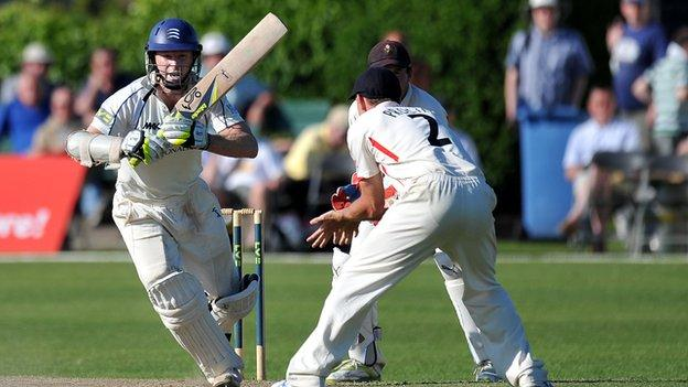 Chris Rogers bats out the day at Aigburth