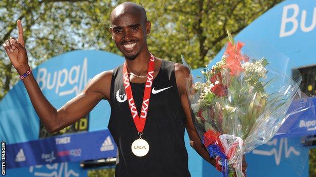 Mo Farah win the London 10,000