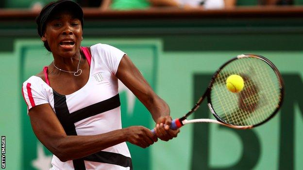 Venus Williams in action at the French Open