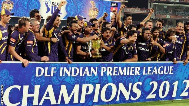 Kolkata Knight Riders celebrate with the IPL trophy