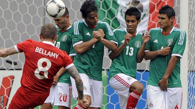 Wales' Craig Bellamy has a shot on goal against Mexico