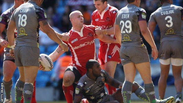 Salford's Adam Sidlow celebrates after scoring in the win over Huddersfield