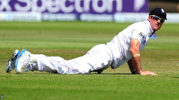 England captain Andrew Strauss on fielding duty at Trent Bridge