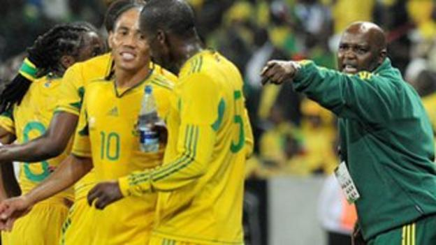 South Africa coach Pitso Mosimane (right)