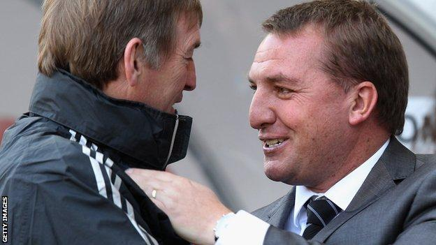 Kenny Dalglish and Swansea manager Brendan Rodgers