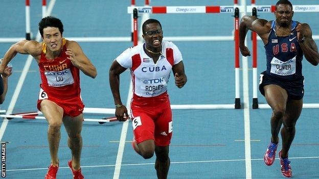 110m hurdlers Liu Xiang, Dayron Robles and David Oliver