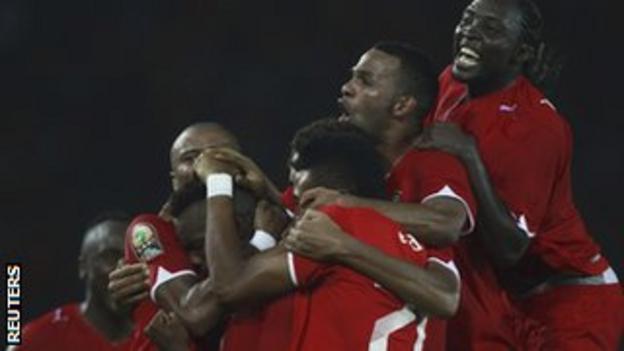 Equatorial Guinea celebrate their match-winning goal against Libya
