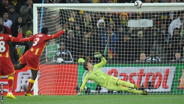 Ghana's Asamoah Gyan hits the crossbar with his penalty in the 2010 World Cup quarter-final against Uruguay, a match the Black Stars went on to lose