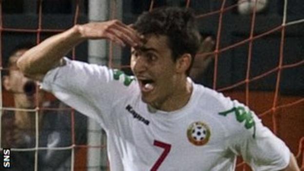Georgi Kostadinov celebrates after scoring for Bulgaria Under-21s against Scotland