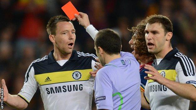 John Terry is sent off in the Champions League semi-final