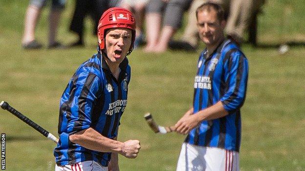 Kingussie's Ronald Ross celebrates a goal against Kinlochshiel in the Camanachd Cup