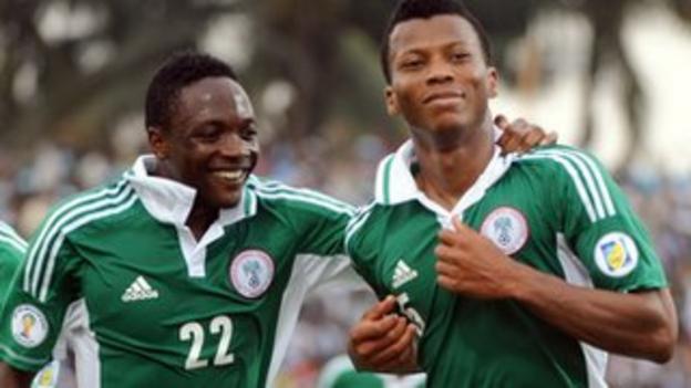Nigeria's Ikechukwu Uche (right) and Ahmed Musa