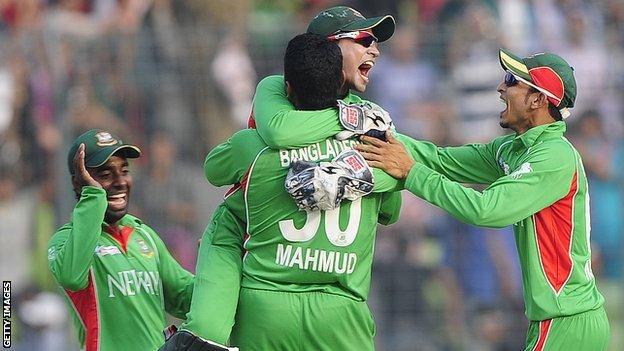 Bangladesh cricketers celebrating