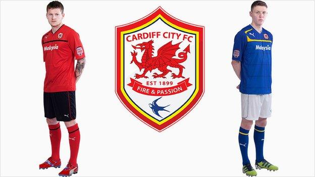 Aron Gunnarsson in home kit, new Cardiff City crest and Joe Mason in away kit