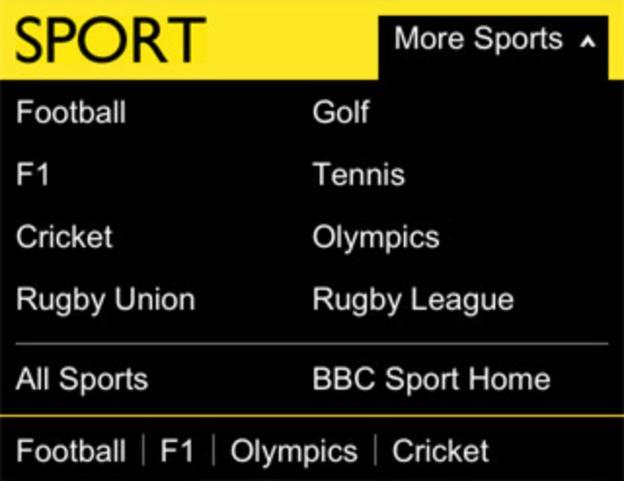 BBC Sport mobile homepage dropdown