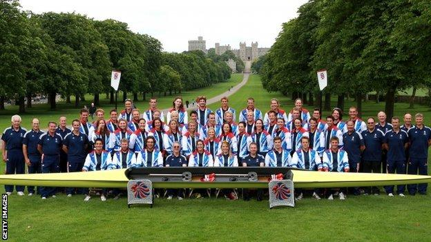 Team GB rowing squad in Windsor