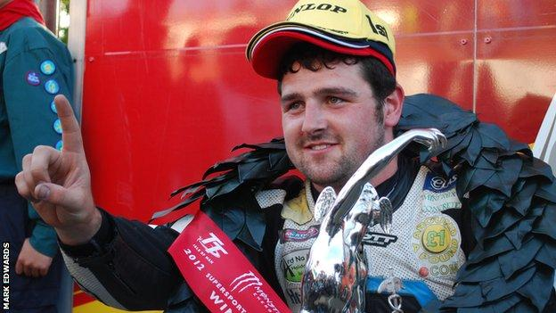 Michael Dunlop after his Supersport win on Wednesday