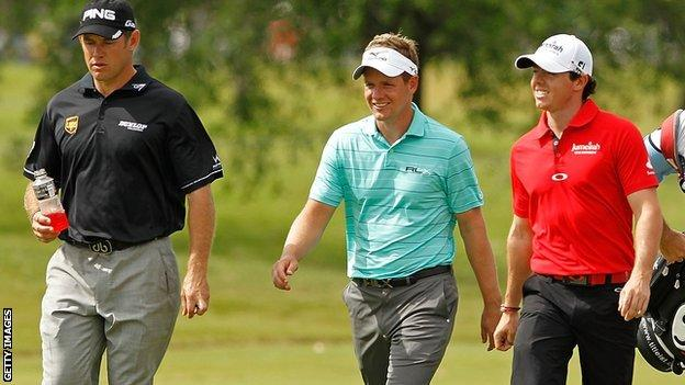 Lee Westwood, Luke Donald and Rory McIlroy
