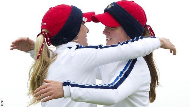 USA pair Brooke Pancake (left) and Austin Ernst celebrate after winning their match