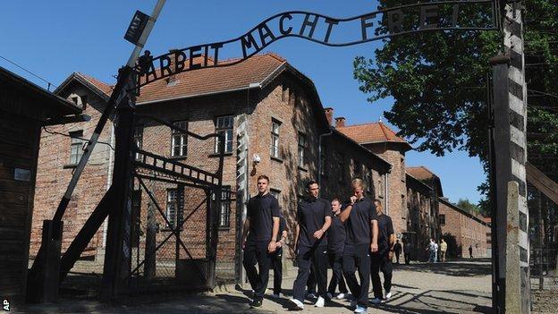 England players at Auschwitz-Birkenau