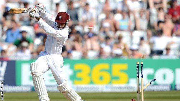 Kieron Powell is bowled in the Trent Bridge Test
