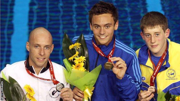 Peter Waterfield, Tom Daley and James Denny pose with their medals after the men's 10m platform final during the British Gas Diving Championships