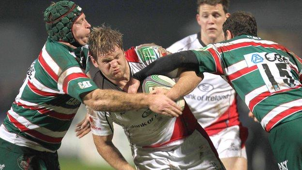 Leicester pair Thomas Waldron and Geordan Murphy tackle Ulster's Chris Henry