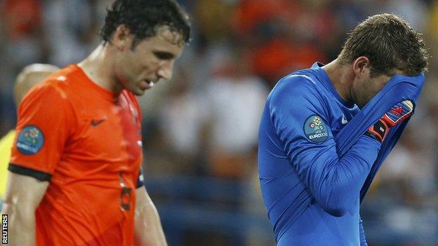 Netherlands players Mark van Bommel and Maarten Stekelenburg