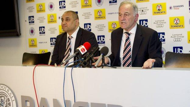 Charles Green (right) at the announcement that Rangers are forming a new company