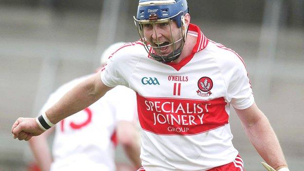Paddy McCloskey celebrates after scoring a goal against Armagh