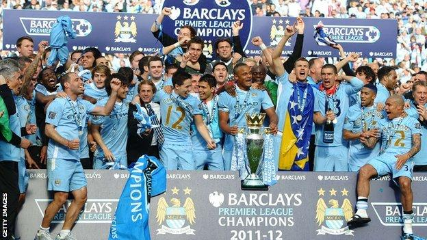 Manchester City celebrate winning the Premier League