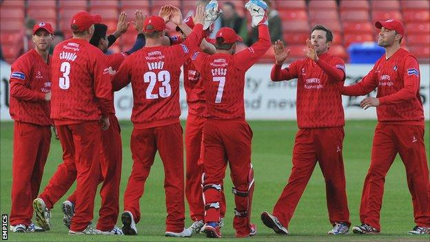 Lancashire celebrate a wicket in their FL t20 victory over Leicestershire on Friday