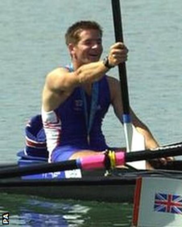 Andrew Lindsay celebrates the gold medal