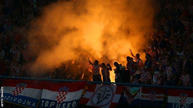 Croatia's fans have been in trouble for letting off fireworks and flares during games