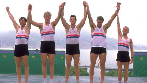 The gold-medal winning coxed fours at Los Angeles, 1984