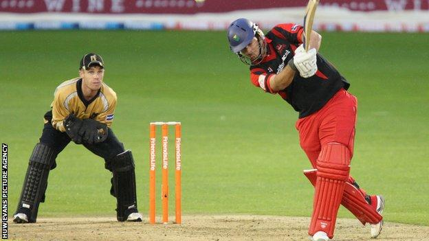 Welsh Dragons skipper Jim Allenby batting in the win over the Bears