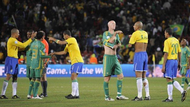 South Africa and Brazil players after their 2009 Confederations Cup semi-final