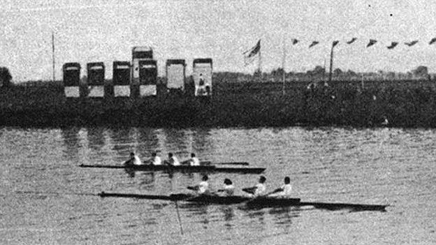 The GB coxless fours hold off a challenge from Canada in the 1924 Olympic final
