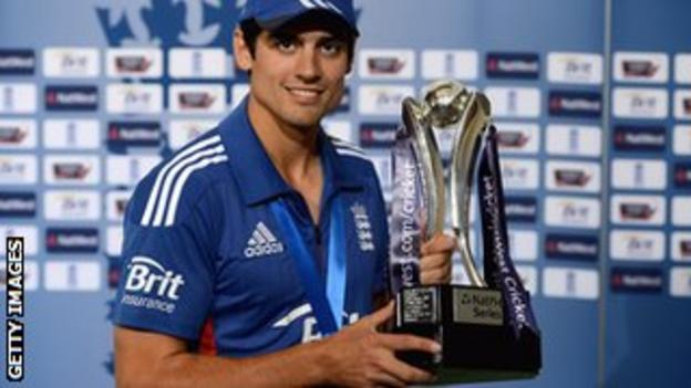 England skipper Alastair Cook with the one-day series trophy