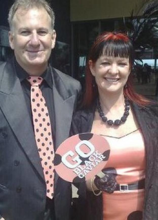 Black Caviar fans Billy and Juli Forest travelled from Australia to see the horse